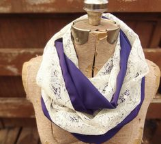 Vintage ivory lace infinity scarf with a plum purple by PaleDesign, $27.00