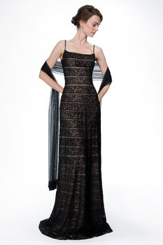 Banded Embroidered Lace Spaghetti Strap Slip Gown with Stole in Black / Nude   Tadashi Shoji