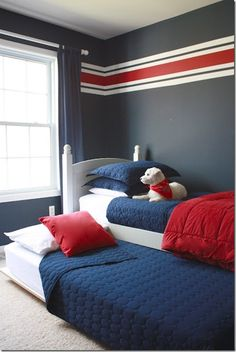 A safer solution to bunk beds in a boys room. DIY trundle bed, made from an old set of bunk beds, and inexpensive supplies from any home store. Photos and basic instructions, as well as supplies cost, etc. Bedroom Red, Kids Bedroom, Bedroom Decor, Bedroom Ideas, Kids Rooms, Bed Ideas, Small Rooms, Decor Ideas, Boys Room Paint Ideas