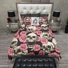 Pink Rose and Human Skull Duvet Bedding Sets