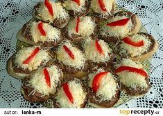 Ďábelská pomazánka na topinky recept - TopRecepty.cz Czech Recipes, Holidays And Events, Hamburger, French Toast, Sandwiches, Muffin, Food And Drink, Pizza, Cooking Recipes