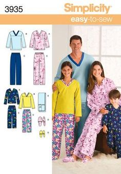 Unisex Slippers and Pajama Sewing Pattern 3935 Simplicity