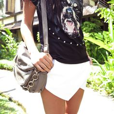 white skirt | animal tee