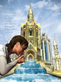 22 And he shewed me a pure river of water of life, clear as crystal, proceeding out of the throne of God and of the Lamb. King Jesus, God Jesus, Christian Symbols, Christian Art, Angel Show, Bride Of Christ, Prophetic Art, Lion Of Judah, Living Water