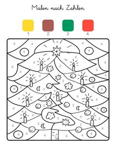 Paint by Numbers: Painting a Christmas Tree to Color - Feliz Natal 1609 Christmas Math, Christmas Activities, Christmas Balls, Winter Christmas, Christmas Crafts, Xmas, Christmas Tree Painting, Colorful Christmas Tree, Christmas Colors