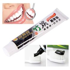 Bamboo Charcoal Black Teeth Whitening Clean Toothpaste Smoke Stains Tartar Removal Oral Care Source by ohlovelycherry Activated Charcoal Toothpaste, Charcoal Teeth Whitening, Teeth Whitening Remedies, Natural Teeth Whitening, Best Toothpaste, Tartar Removal, Natural Charcoal, Charcoal Black, Teeth Health