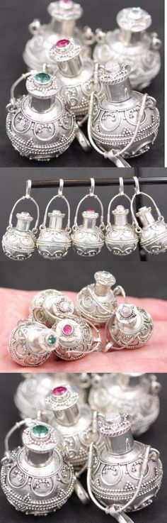 Pendants and Lockets 45079: Handmade 5X Sterling Silver .925 Round Bali Urn/Perfume Pendants W Gemstone. BUY IT NOW ONLY: $129.8