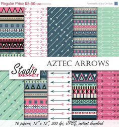 ON SALE Aztec Arrows Papers, Tribal Digital Paper in mint and pink, Backgrounds for Scrapbooking, Cards A004 on Etsy, $1.80