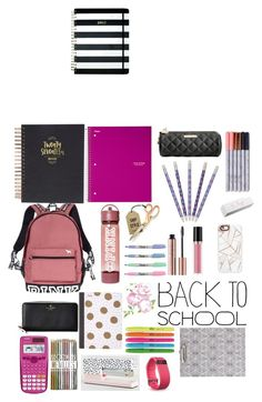 """""""My dream Backpack/Essentials"""" by chloeziegler2 ❤ liked on Polyvore featuring Kate Spade, Betsey Johnson, Victoria's Secret, ICE London, Vera Bradley, Revlon, Casetify, Mead, Fitbit and backpack"""