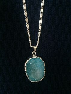(Front) Dazzling Turquoise Semi-Precious Drusy Agate Gemstone Necklace