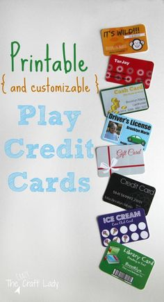 (and Customizable) Play Credit Cards Printable (and Customizable!) PLay Credit Cards - Make a play wallet with customized cards for your child.) PLay Credit Cards - Make a play wallet with customized cards for your child. Dramatic Play Area, Dramatic Play Centers, Play Money, Money Games, Play Centre, Printable Cards, Free Printables, Pretend Play, Role Play