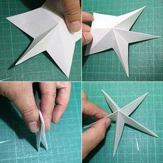 ハサミで切り抜く 立体的な星形オーナメントの作り方