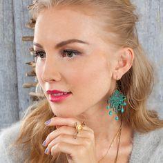 Open Work Patina Chandelier Earrings $40.00 #chloeandisabel #turquoisnation