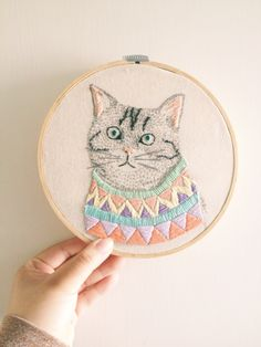 Embroidery cat with sweater