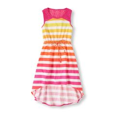 Vibrant stripes, crochet details and a cool hi-low hem makes this dress a summer time favorite!