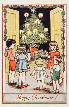 Vintage Christmas Card ~ Munchkins, Christmas Tree & Orange Accents