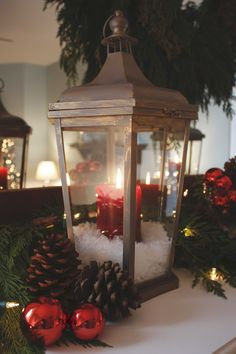 Christmas Lantern with Epsom Salt Snow...this Would Look so Pretty on a Mantle!!