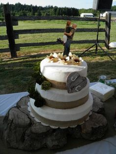 Country wedding cake but with pastel flowers