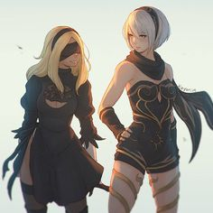 Two of my most anticipated games this year; Gravity Rush 2 and NieR: Automata! I wanted to do an outfit swap between Kat and 2B for some reason so…here it is…!