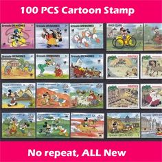 100 PCS/Lot No Repeat All New Cartoon Postage Stamps Collections No Post Mark Stamps Postal In Good Condition, All Big
