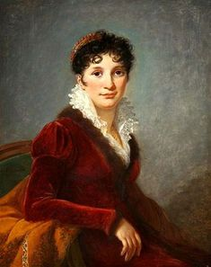 1815 LeBraun portrait with a red velvet Pelisse.  It is the chimesette collar that really has my attention.