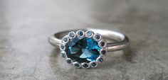 Blue Topaz Ring- Sapphire Rings- Blue Sapphire Ring-Promise Ring- December Birthstone Ring- Halo Rings
