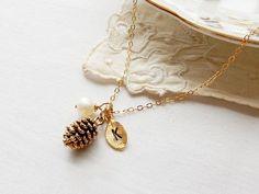 Halskette Gold Wald Tannenzapfen personalisierte von foxandfigs