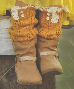 Look at this Just Couture Mustard Yellow Knit Leg Warmers on #zulily today!