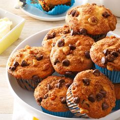 Traditional Chocolate Chip Muffins Recipe -Muffins are one of my favorite things to bake, and these are the best. I always keep some in the freezer for breakfast on the run. I can zap one in the microwave before I head out the door. —Kelly Kirby Westville, Nova Scotia