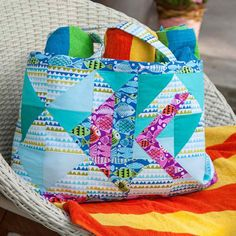 """Free quilting pattern Match 8"""" Block Set to create a striking beach bag that will get compliments from everyone you encounter. With the easy breezy die numbering system, you can cut these shapes quickly and put this bag together in an afternoon. This pattern is a must-have for your collection since it's extremely versatile and you can make the bag more scrappy or just use solid-colored fabric to create a vastly different beach bag. (aff link)"""