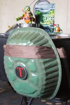 Teenage Mutant Ninja Turtles Shell -  Turn an aluminum roaster pan into a turtle shell.