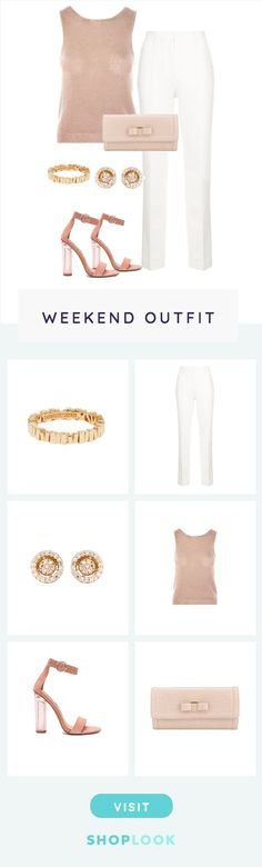 Cream, Gold and Pink created on ShopLook.io featuring Suzanne Kalan, Ryan Roche, Astley Clarke, Top Shop, Steve Madden, Salvatore Ferragamo perfect for Weekend.
