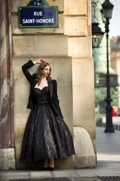 Rue Saint Honore Paris Woman Fashion Photo shoot wearing black lace wedding dress from Max Chaoul