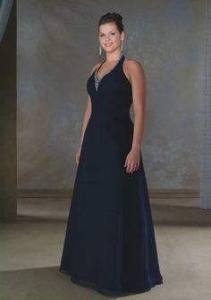 A-line Halter Floor-length Chiffon Mother of the Bride Dress : Parisbonbon.com