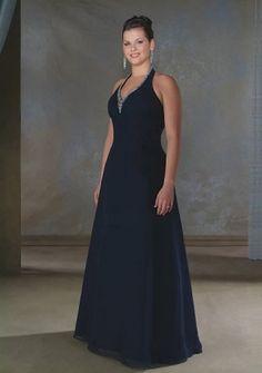 A-line Halter Floor-length Chiffon Mother of the Bride Dress