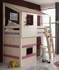 Abeteuer-Hochbett Kids Paradise Kiefer Weiß Fenster Flieder | Betten.de