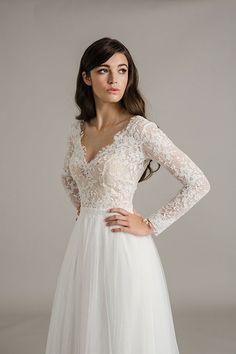 Long sleeve lace wedding dress - beige tight dress, shopping dress, prom dresses uk *ad