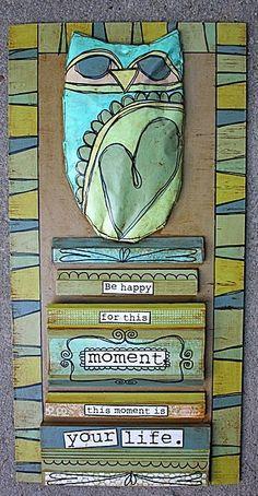 mixed media art @Jill Ward Brown made using scrap wood moldings, and stuffed paper bird.