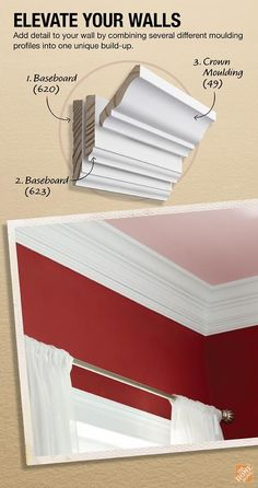 Add detail to your walls by combining several different moulding profiles into on unique build-up.: