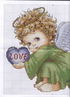 Pin by jackie rodman on cross stitch punto croce, punti, punto croce bambin Cross Stitch Fairy, Cross Stitch Angels, Cross Stitch Heart, Cross Stitch Numbers, Cross Stitch Boards, Cross Stitch Designs, Cross Stitch Patterns, Stitch And Angel, Cross Stitch Pictures
