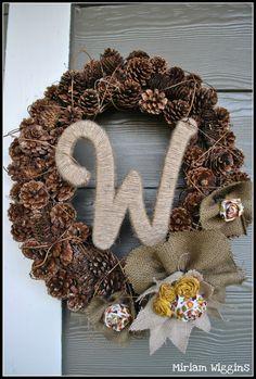 Winter wreath. I like the idea of pine cones