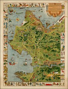 Monterey Peninsula (To His Excellency The Count of Monterey: This Limned Map and History of hhis own Harbour and Peninsula - discovered by Viscaina A. - Barry Lawrence Ruderman Antique Maps Inc. Vintage Maps, Antique Maps, California Map, Monterey California, California History, Monterey Bay, Wall Art Prints, Poster Prints, Monterey Peninsula