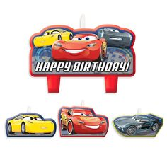 Lightning McQueen will light up the party with this set of Cars 3 birthday candles. Lightning, Cruz Ramirez, and Jackson Storm race off on three individual candles, while they all team up on the large ''Happy Birthday'' centerpiece.