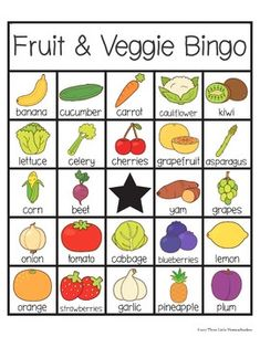 Fruit and Vegetable Bingo with 30 Unique Cards Fruit And Veg, Fruits And Vegetables, Bingo For Kids, Fruits For Kids, Coloring Sheets For Kids, Raw Vegetables, Bingo Cards, Unique Cards, Yoga For Kids