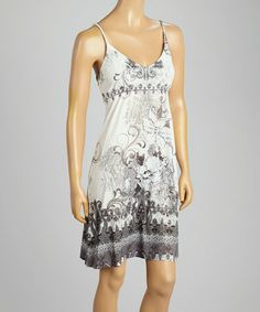Another great find on #zulily! Black & Ivory Floral Swirl Sleeveless Dress #zulilyfinds