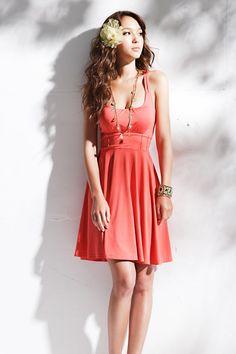 Fashion Pleated U Neck Tank Sleeveless Mini Dress