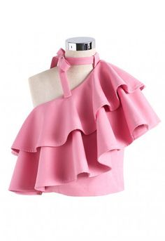 Ritzy One-shoulder Ruffled Crop Top in Pink - Retro, Indie and Unique Fashion Teen Fashion Outfits, Girl Fashion, Girl Outfits, Casual Outfits, Fashion Dresses, Cute Outfits, Crop Top Designs, Blouse Designs, Little Girl Dresses