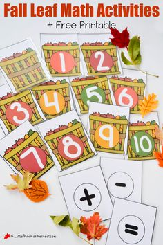 Fall Leaf Math Activities and Free Printable for Hands on Learning | A Little Pinch of Perfect