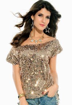 Gouden glitter top, off shoulder top volledig met pailletten