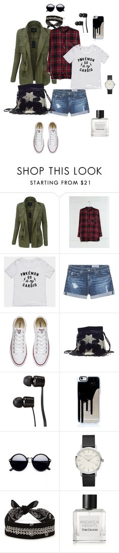 """Day off"" by ulusia-1 ❤ liked on Polyvore featuring LE3NO, Bershka, AG Adriano Goldschmied, Converse, Yves Saint Laurent, Vans, Fallon and Tom Daxon"